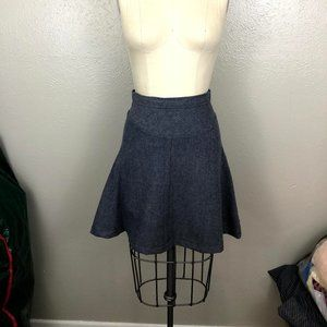 Navy Chevron Fit and Flare Skirt With Waist Yoke